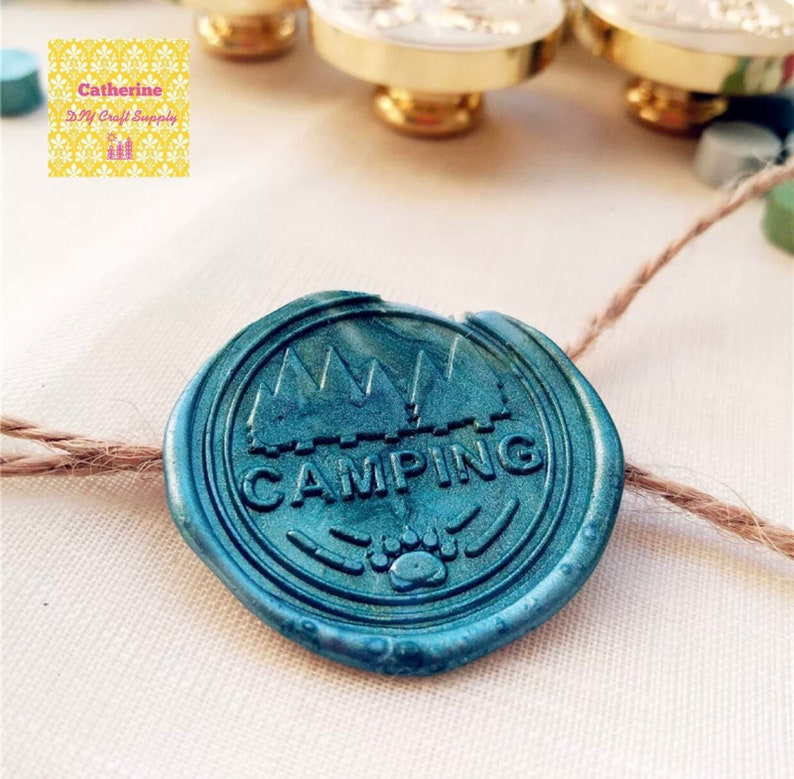 wax seals Camping wax seal stamp with wooden handle NEW ARRIVAL- 30mm Camping wax seal stamp party wax
