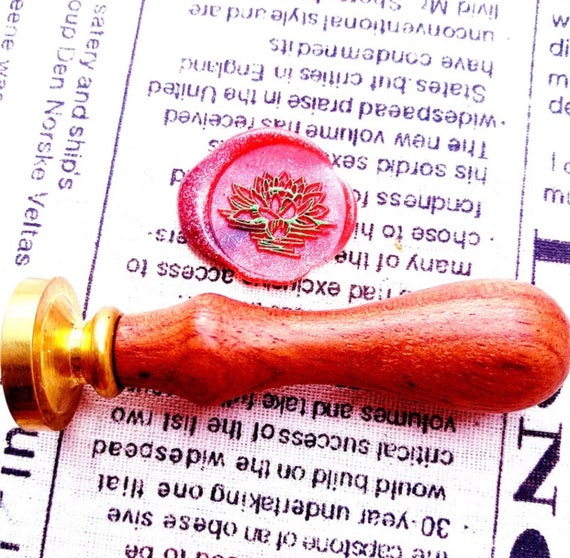 Lotus wax seal stamp flower wax seal stamp with wooden handle party wax seals wax seals