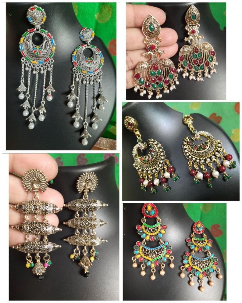 5-Pair Combo Earrings Celebrity Earrings JhumkaJhumki Indian Earrings Bollywood Earrings Beautifull Traditional Style.