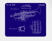Trumpet 1939 Patent Art Print Mouse Mat, H Selmer Patent, Music Art, Musician Gift, Mousemat, Mousepad, 9 Different Backgrounds Available