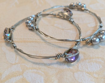 pair of bangles crystal pearls hand wrapped