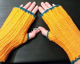 orange fingerless mittens with emerald trim