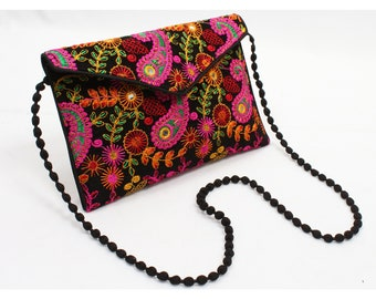 Vintage Banjara Clutch Mirror Work Hand Embroidered Bag Boho Rabari Tribal Gypsy Shoulder bag Purse Bohemian Ethnic Fabrics Cotton Gift for