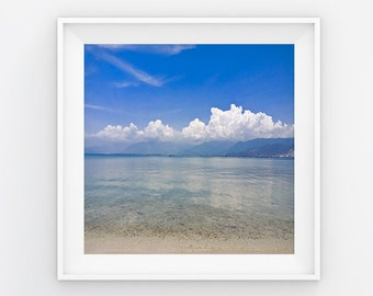 Sea Under Blue Sky Print, White Cloud Print