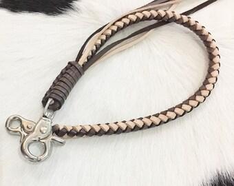 5d647d10bdfa Cowhide Leather Wallet Chain Punk Brown Beige