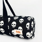 Yoga bag - Skulls I - For mat - With zipper - With pocket - For pilates - For vegans - Handmade gift with cotton