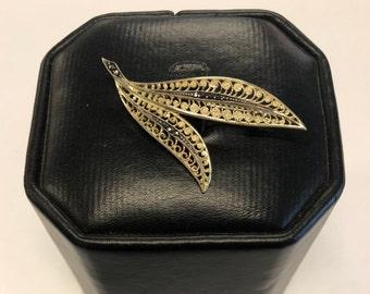 Vintage European Silver Leaf Brooch