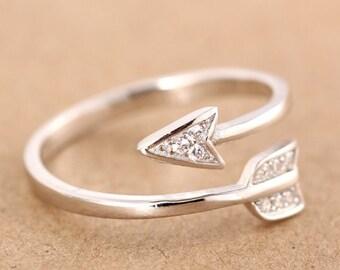 Silver Curled Arrow Joy Ring