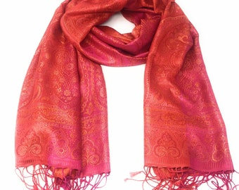 635b84b8a04f 100 % soie-Pashmina Châle - Satin finition-Pashmina - foulard -  Wrap-doux-chaud-cadeau-rouge-rose-jaune-or-paisley