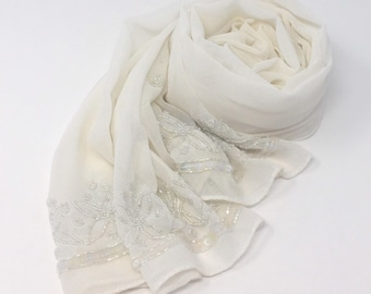 70b3f6765548f Chiffon-Sheer-Shawl-Scarf-Wrap-pashmina- wedding favors-bridesmaids  gifts-seqins-beaded-off white-creme
