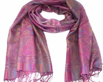 15d4fd3dde48 100 % soie-Pashmina Châle - Satin finition-Pashmina - foulard -  Wrap-doux-chaud-cadeau-rouge-rose -jaune-or-orange-vert-turquoise-purple-bleu-paisle