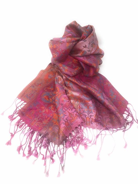 a34382b655e6 100 % soie-Pashmina Châle Satin finition-Pashmina foulard   Etsy