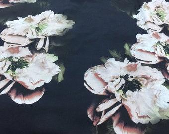 Floral navy chiffon fabric