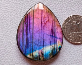 Brilliant Flashy Labradorite Gemstone Cabochon Pear Shape 33X19X6 mm Special Christmas Gift For Her Labradorite Jewelry Making Cabochon