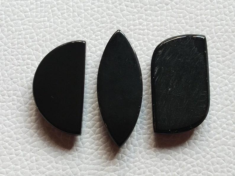 3 Pieces Lot Gorgeous Black Onyx Gemstone Cabochon Mix shape 80 Crt Cabochon Best Quality Onyx Hand Polished Cabochon