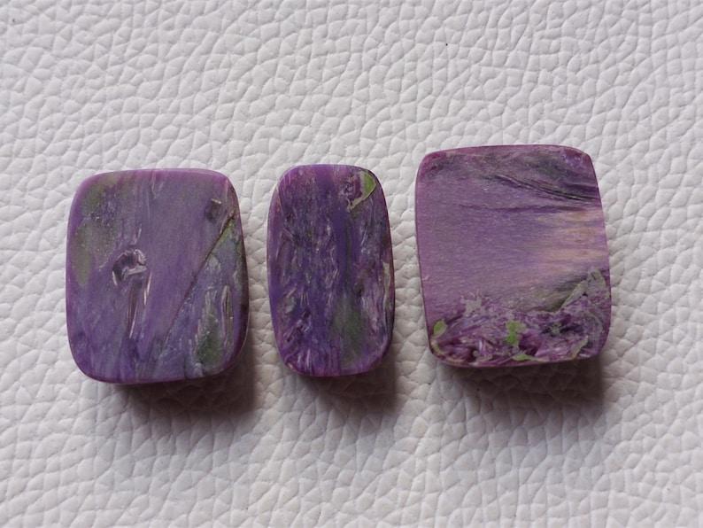 Charoite Cabochon Purple Charoite Stone Rectangular Shape For Loose Pendant Jewelry 3 Piece Lot AAA++