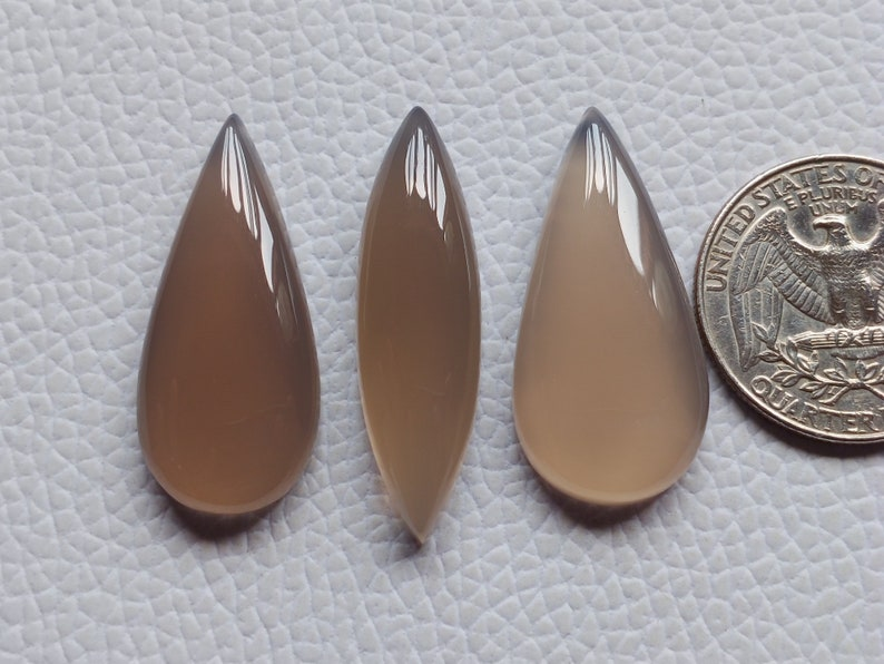 100/% Amazing 3 Piece Lot Loose Grey Onyx Gemstone Cabochon Long Mix Shape For Jewelry Making Gemstone Grey Chalcedony Cabochon
