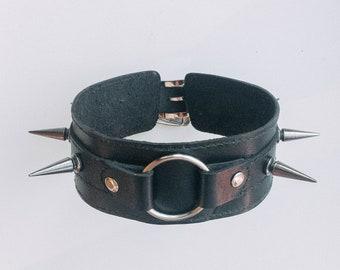 Leather spiked collar (handmade)