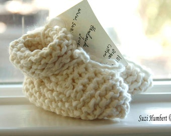 Knitted Baby Booties- White Cotton