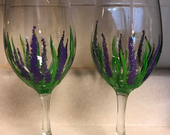 2 Hand Painted Wine Glasses