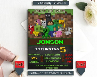 INSTANT DOWNLOAD_Game Birthday Invitation, Game Birthday, Game Invitation, Game Birthday Invite, Birthday Invitation, Video Game,Digital,PDF