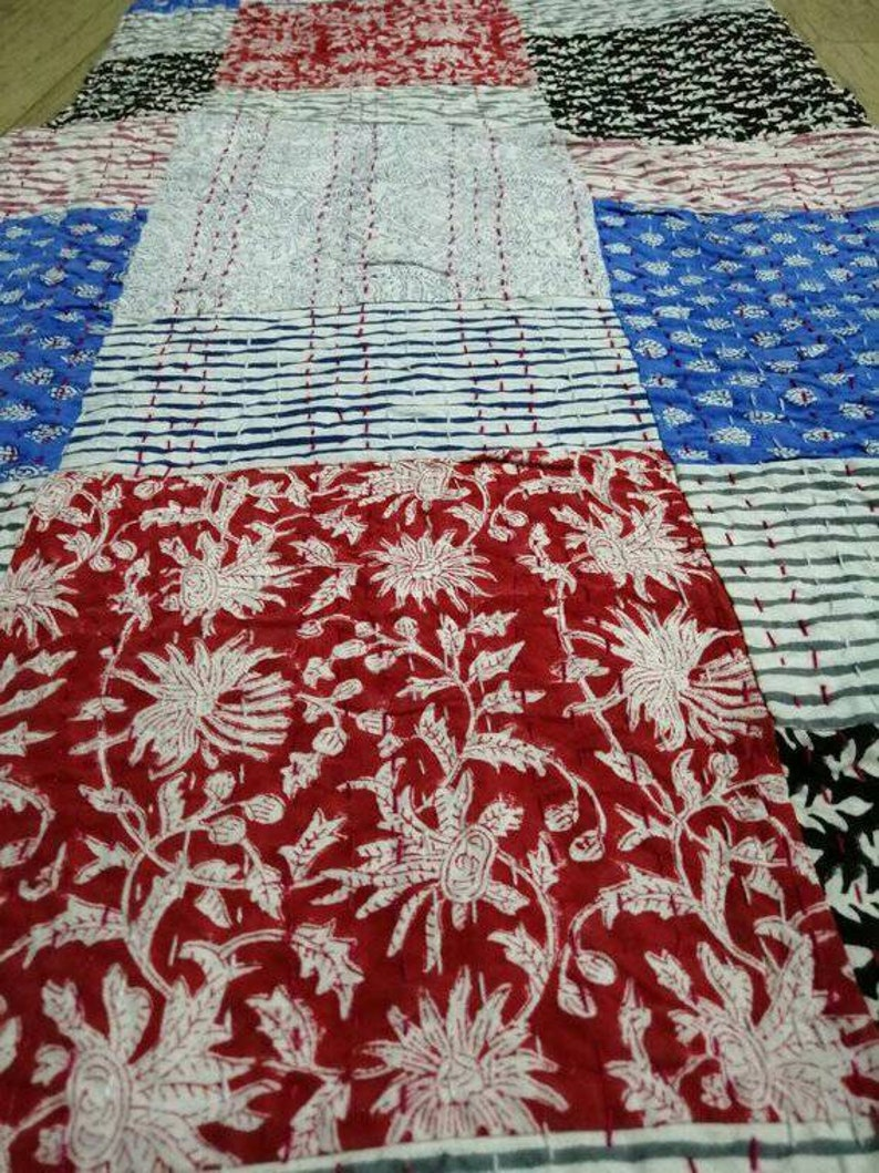 Decorative Quilting Blanket Bedspread Throw Smooth Touch with Fine Fabric Queen Size 108x90inches A New Beautiful Patchwork Kantha Quilt