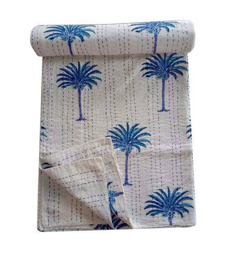 A New Indian Handmade New Ethnic Palm Tree Print Kantha Quilt Gudri Kantha Bedspread Multiple Size Palm Tree kantha Throw Blanket