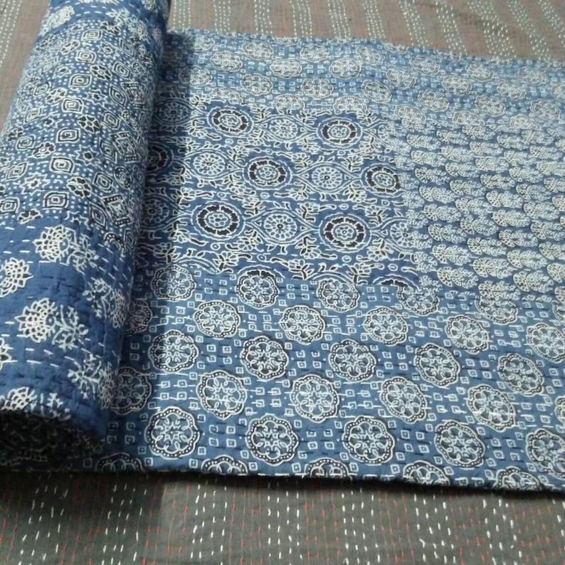 Kantha Coverlet Indigo Kantha Bedspread Bedcover Queen Size 108x90 inche Throw Blanket Father/'s Day Gift Indigo blue Kantha Quilt