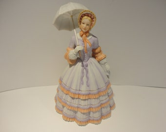 Vintage Porcelain Lenox Lady Figurine 9 Tall w Umbrella circa 1980s Collectibles Springtime Promenade