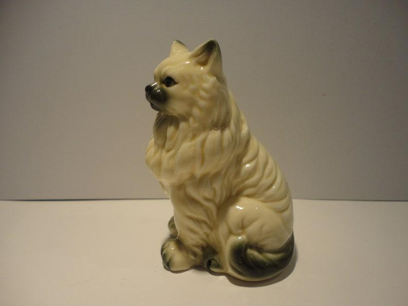 Porcelain Cream and Black Persian Cat Figurine,Collectible Cat Figurine,Cream and Black Cat Figurine,Vintage Porcelain Persian Cat figurine