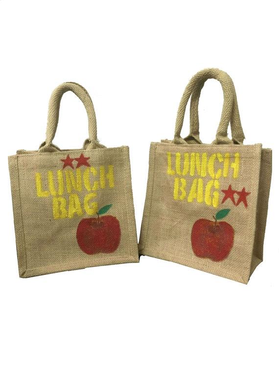 Jute Hessian Unicorn Eco Friendly Lunch Bag Small Strong Reusable Shopping