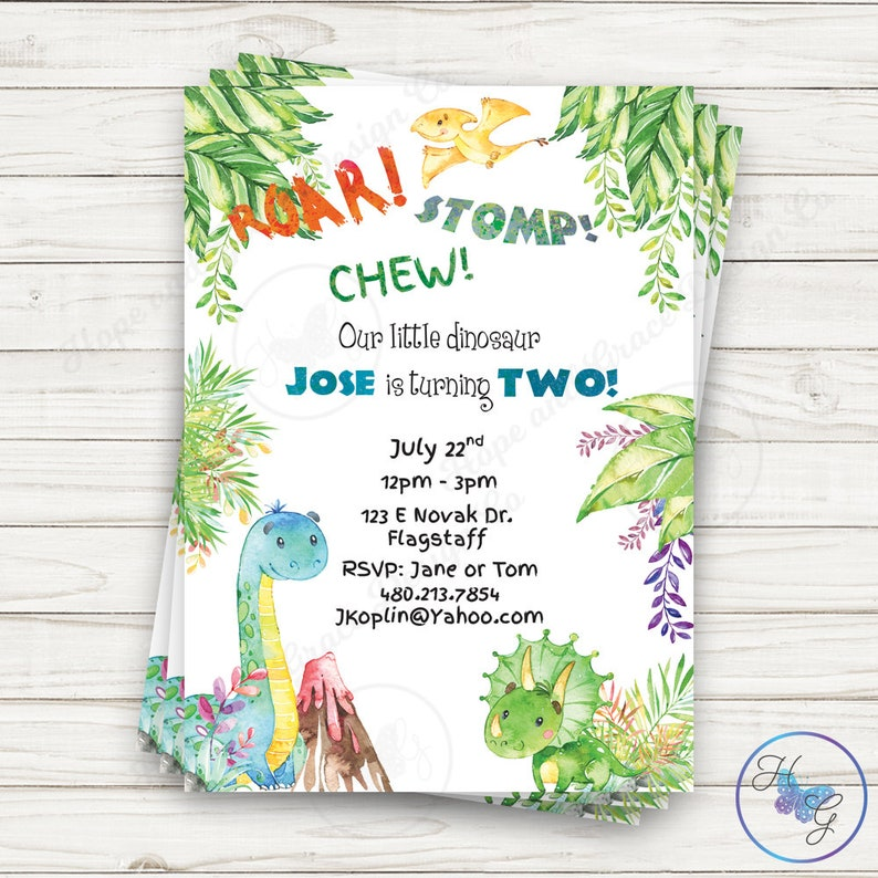 Dinosaur Birthday Invitation 2nd Invite Second Boys Party Dino T Rex