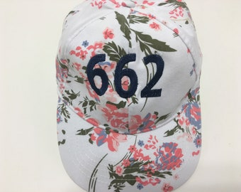 Area Code Embroidered Floral Baseball Cap