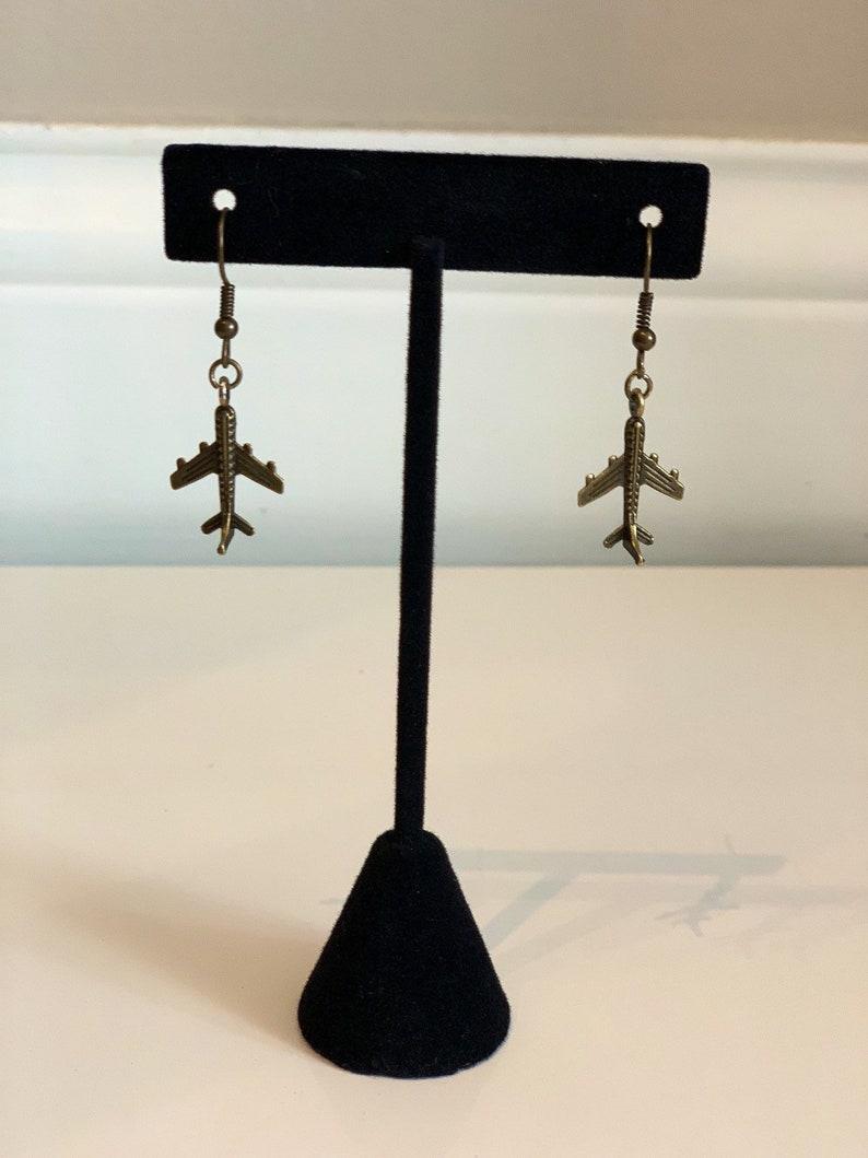 Traveler Pilot Gate Agent Airplane Earrings Flight Attendant Brass Toned Earrings with Airplane Charm