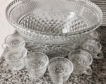 Vintage EAPG Punch Bowl Set