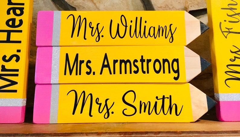 Teacher Pencil Name Plate Plates Male Gifts Thank You Birthday