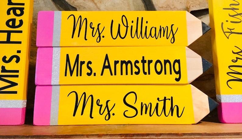 Teacher Pencil Name Plate Plates Male