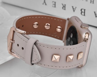 Leather Studded Band Compatible for Apple Watch Band 38mm 40mm 42mm 44mm Women Stainless Steel Fashion Pyramid IWatch Adjustable Wristband