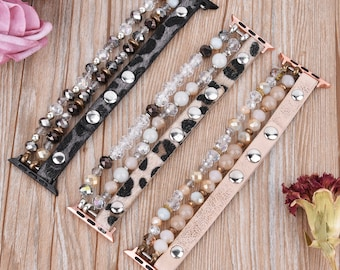Leopard Calf Leather and Crystal Apple Watch Band Animal Bracelet Band 38mm 40mm 41mm 42mm 44mm 45mm Women IWatch Adjustable Wristband