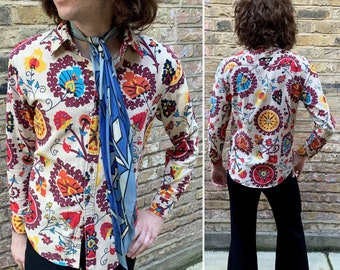 1960s 70s PSYCHEDELIC Floral Cotton Shirt // Folk // Psych // Mod // Flower Power