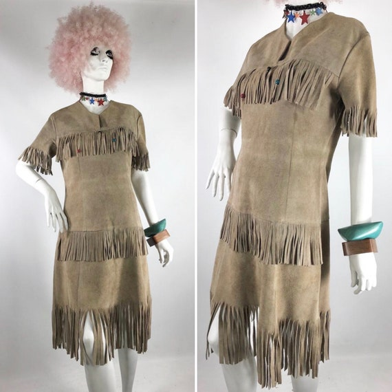 1960s 70s fringed suede dress // hippie // funk //