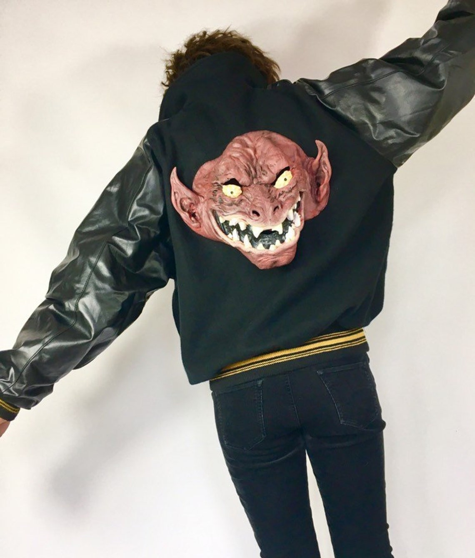Vintage 70s 1980s Vinyl & Wool Band/ College / Sports Bomber Jacket Horror Gruesome Devil Mask Applique Littlediafol Design