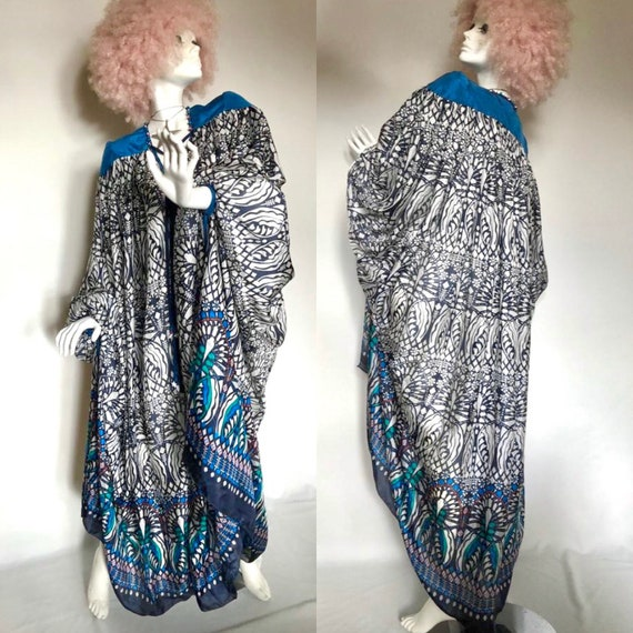 1970s SILK Abaya kaftan maxi dress / nouveau print