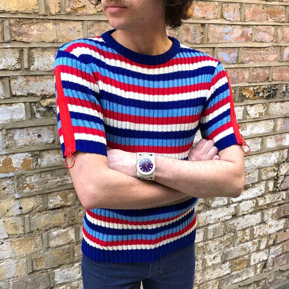 Vintage 60s 1970s rib knit striped top // Ring Zip