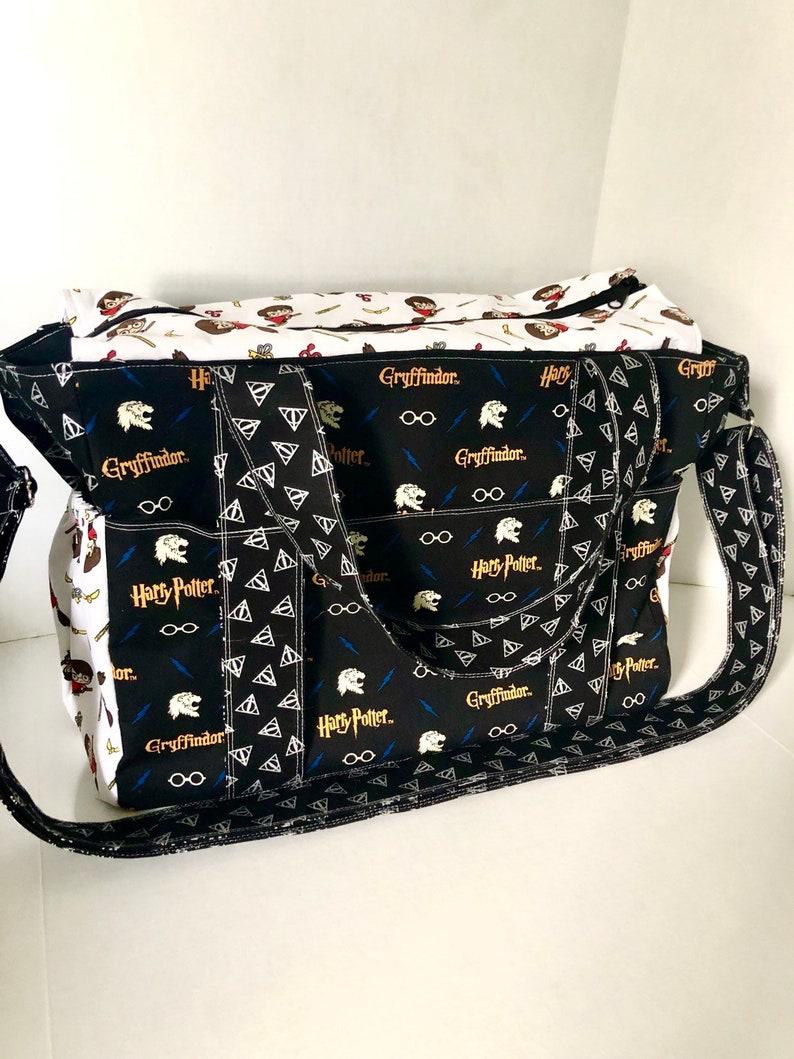 Diaper Bag 10 Pockets Zipper Closure Messenger Bag Extra Large Diaper Bag Adjustable Strap Harry Potter