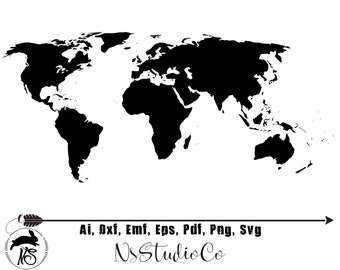 World map silhouette   Etsy