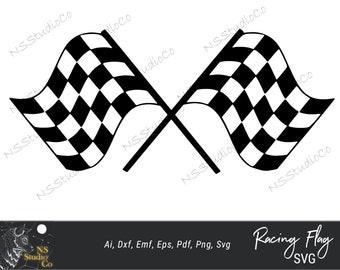 Racing Flag Race SVG Layered PNG DXF Format Cricut Silhouette Studio Vinyl Decal T Shirt Designscrapbooking Stencil Template