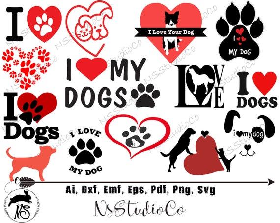 Dog Love Svg Bundle Dog Svg Heart Paw Print Svg Dog Mom Etsy