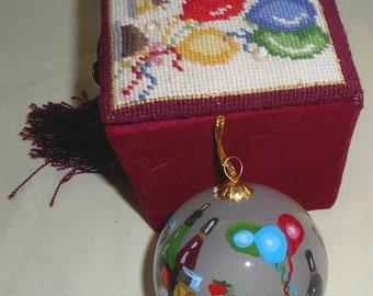 Dillard's Trimmings Inside-Painted Glass Ornament in Needlepoint Velvet Box