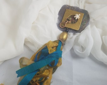 Mixed Media Tassel - Blue with a Turtle